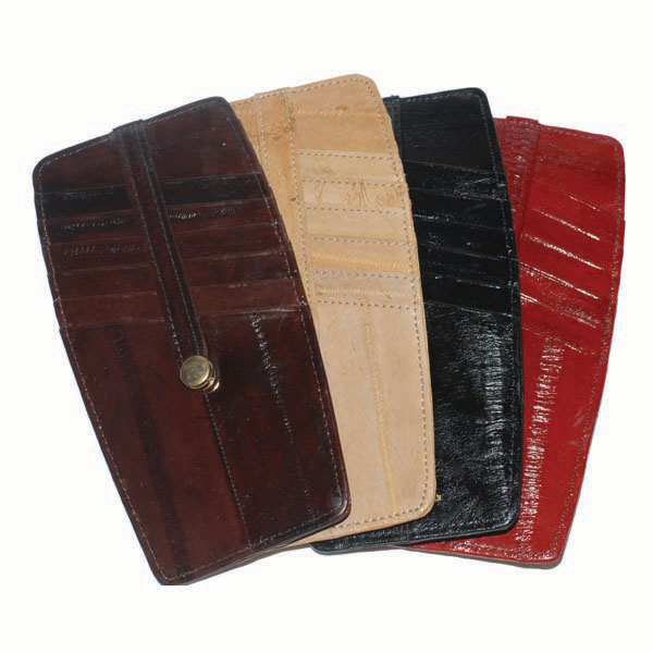 Snap Two Sided Eel Skin Leather Credit Card Holder#E531 803698927563